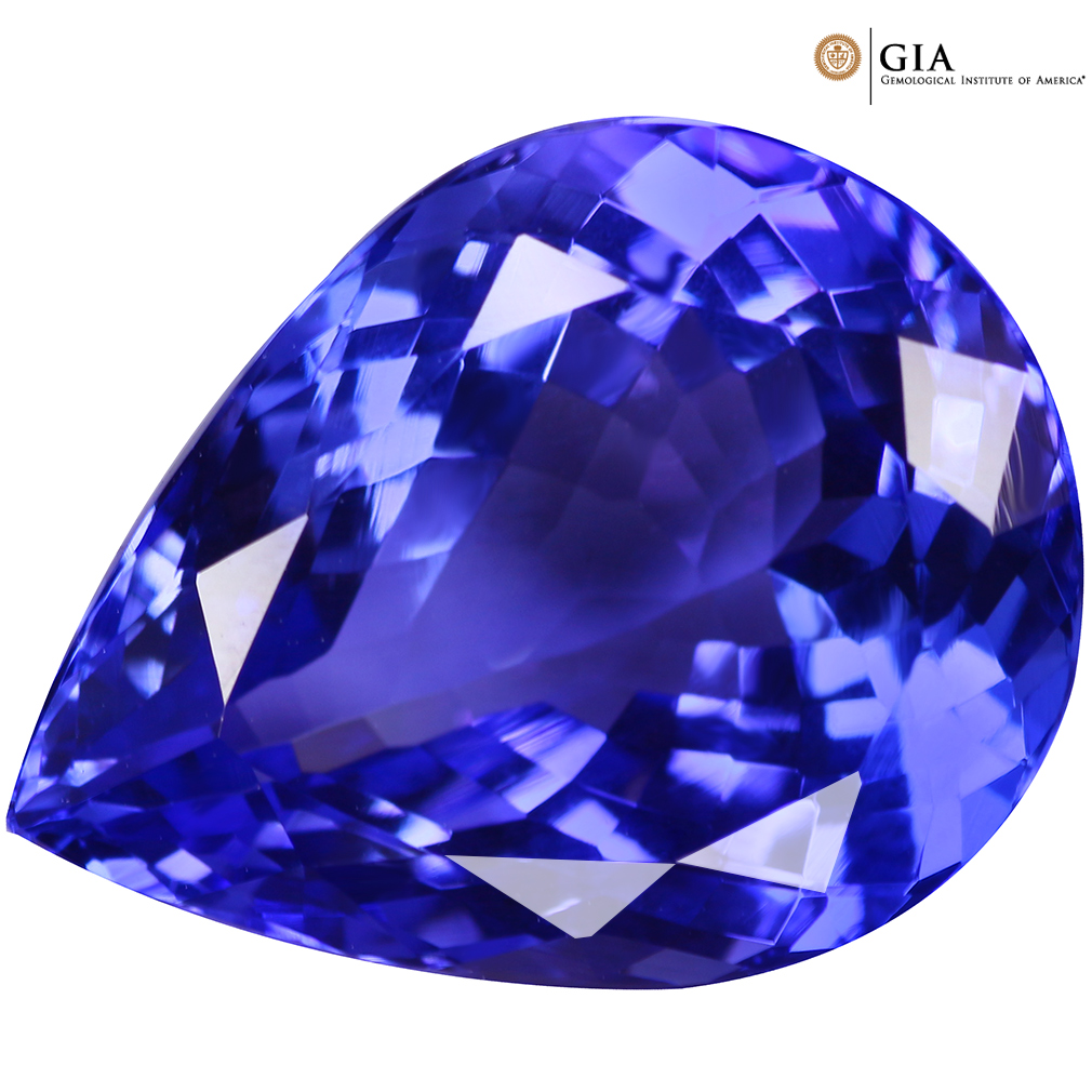 """Lavender Tanzanite: 9.85Ct""""GIA"""" Certified IF Good Pear Cut 16x12mm AAA Natural"""